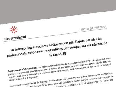 La Intercol·legial reclama al Govern un pla d'ajuts